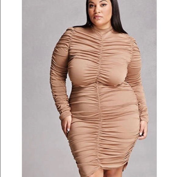 03af453643c Forever 21 Dresses   Skirts - Plus size mesh tan Bodycon dress